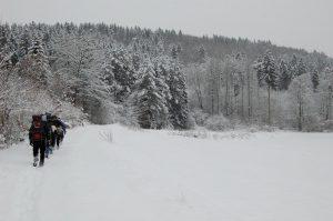 Endlos lang ein Weg durch Schnee